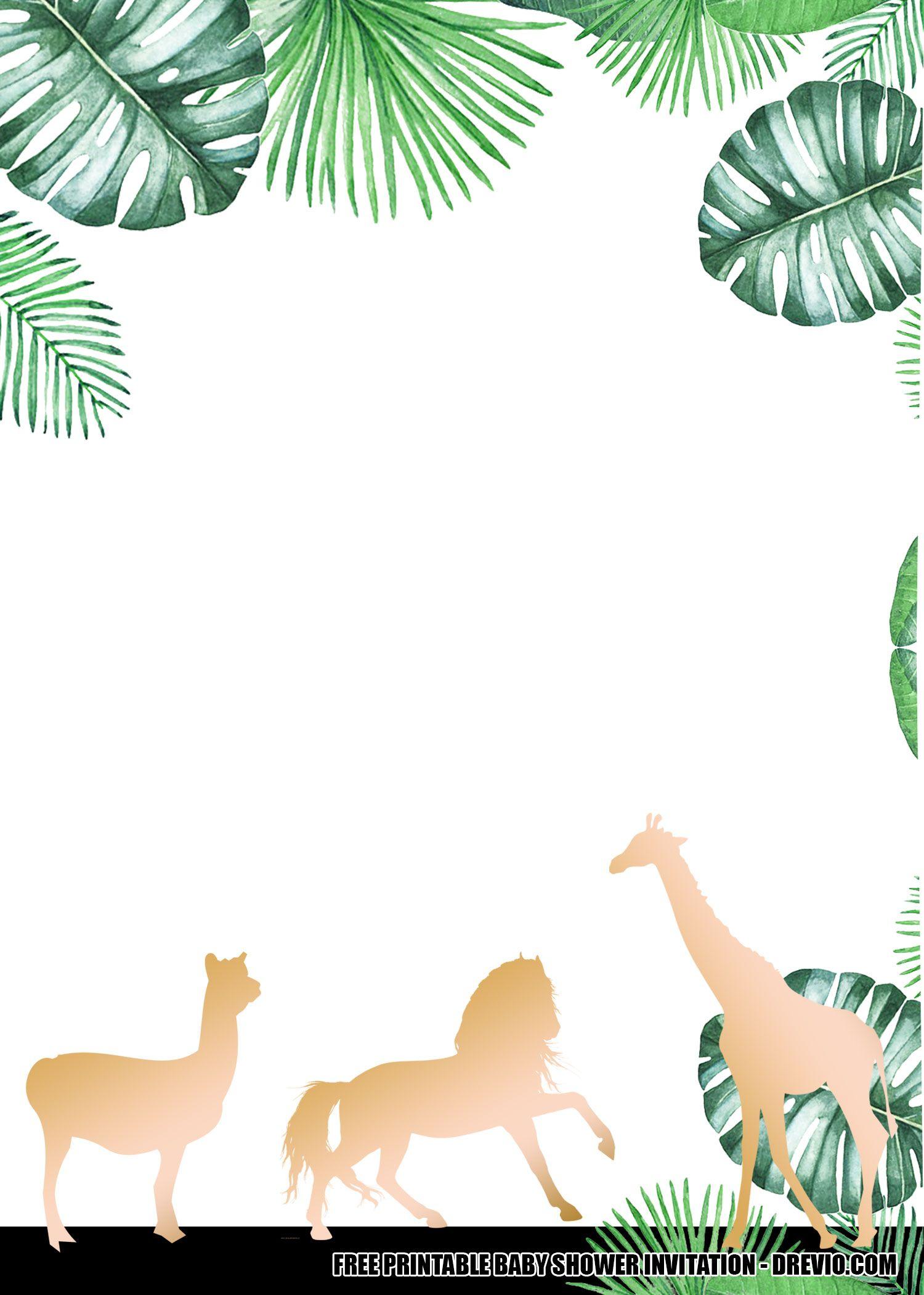 11 Free Jungle Gold Baby Shower Invitation Templates Gold Baby Shower Invitations Baby Shower Invitations Baby Shower Invitation Templates Safari baby shower invitations template