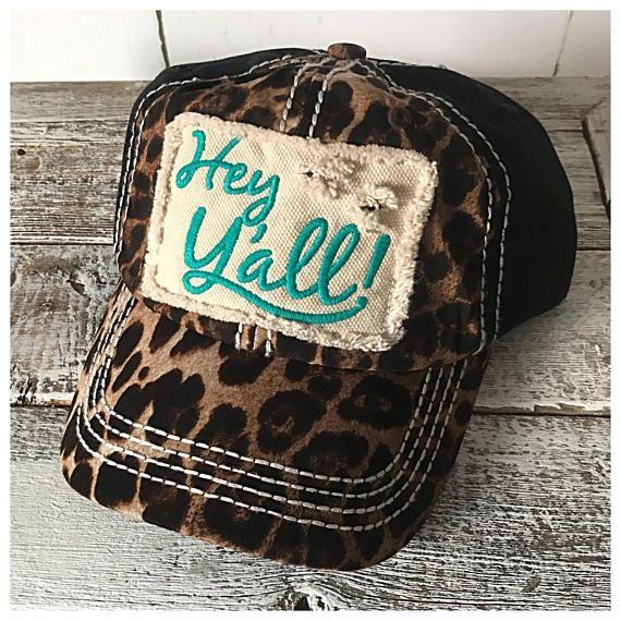 Hey Yall   Leopard Print   Southern   Texan   Distressed Hat   Trucker   Cap 6a98ef29a002