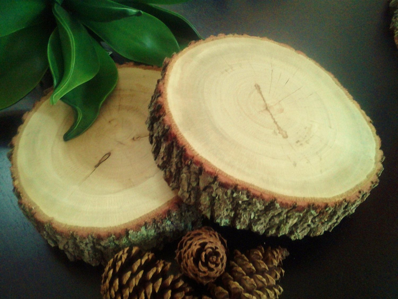 set of 2 8 rustic oak tree trunk slices rustic wedding decor rh pinterest com