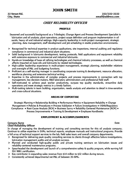 Example Of A Oilfield Consultant Resume Sample: Chief Reliability Officer Resume Template