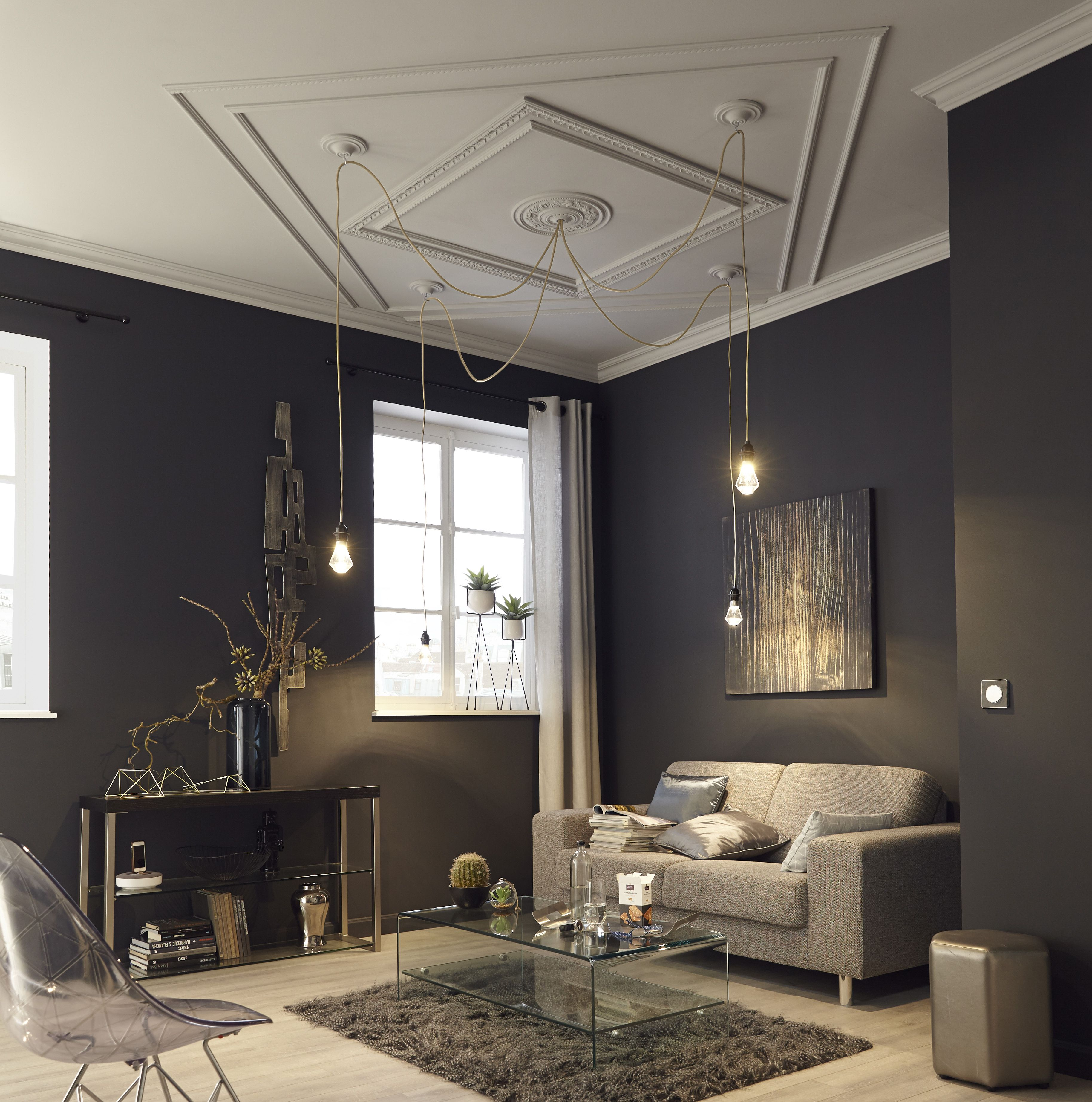 pingl par m sur salons am nagement d co pinterest plafond moulure plafond. Black Bedroom Furniture Sets. Home Design Ideas