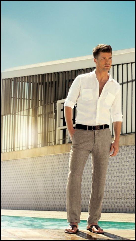 Men 39 s white long sleeve shirt grey linen dress pants for Gray dress shirt black pants
