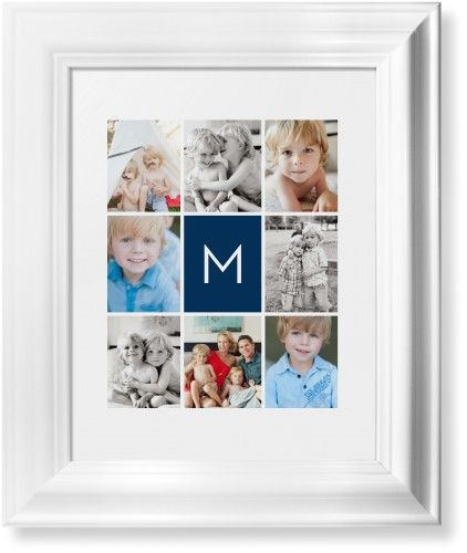 Gallery Monogram Framed Print, White, Classic, White, White, Single piece, 8 x 10 inches, Blue