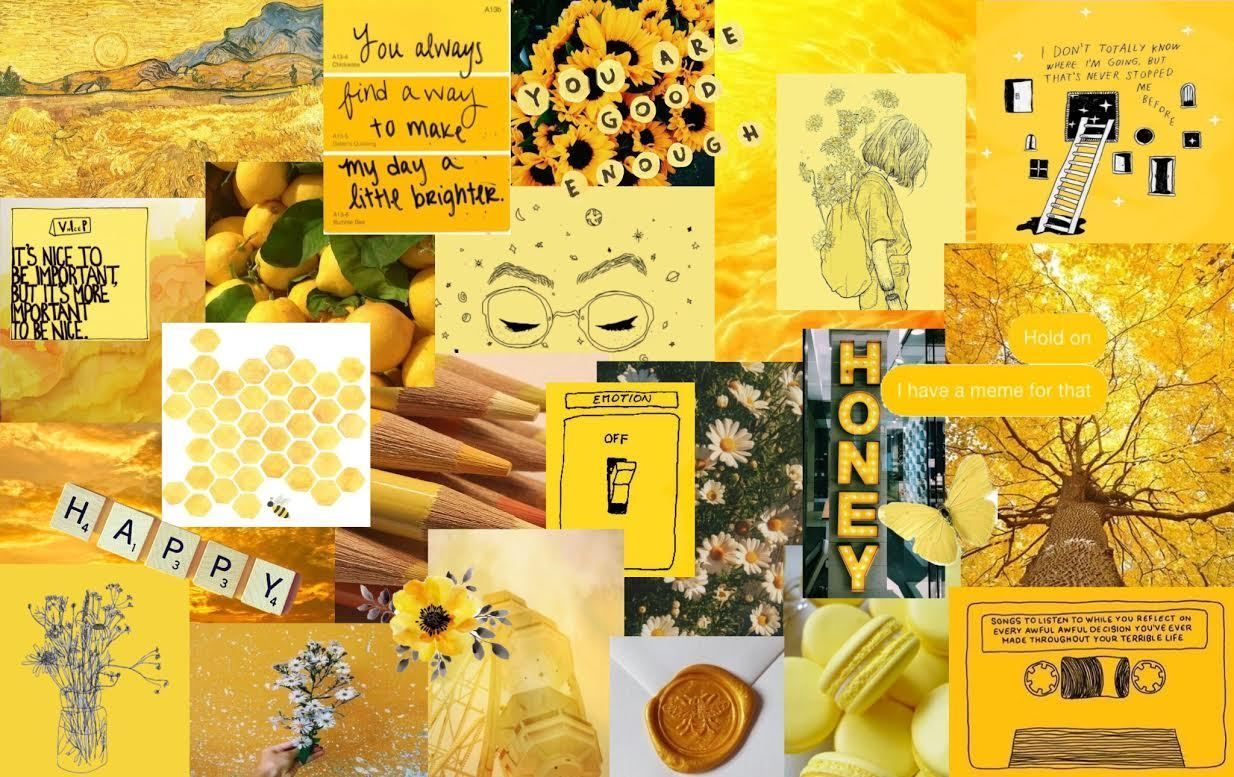Aesthetic Wallpaper Yellow Collage