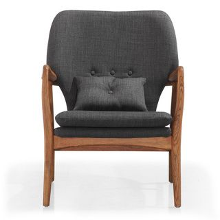 Madison Charcoal Linen Lounge Chair | Overstock™ Shopping - Great Deals on Living Room Chairs