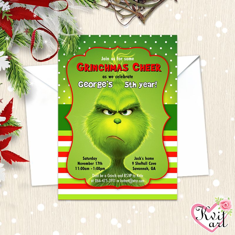 The Grinch Birthday Party Invitation. Family Movie Inspired Design ...