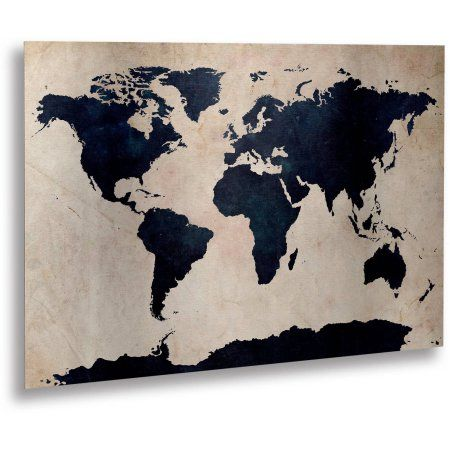 Trademark fine art world map navy canvas art by michael tompsett trademark fine art world map navy canvas art by michael tompsett floating brushed aluminum 16 inch x 22 inch black canvases walmart and products gumiabroncs Images