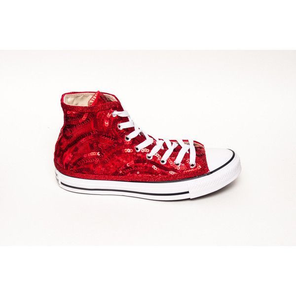 2b2c8318470 Sequin Red Swirl Curl Converse Canvas Hi Top Sneakers Shoes (175 CAD) ❤  liked on Polyvore featuring shoes