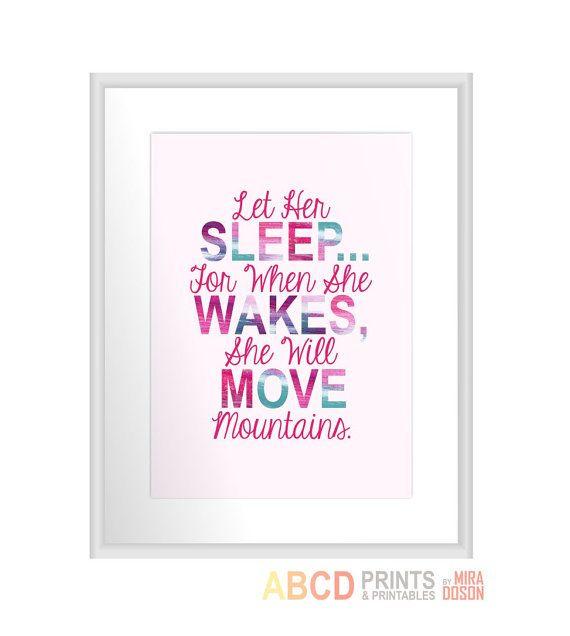 Nursery quote print Let Her Sleep