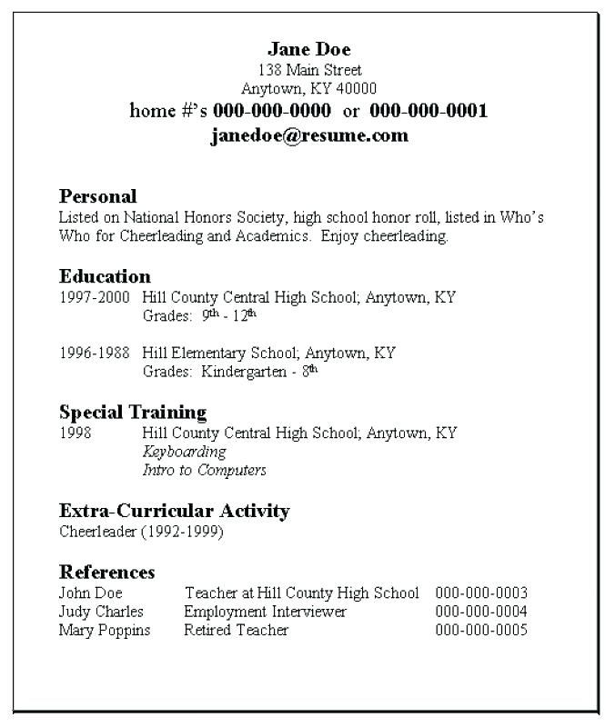 For Teens Resume Templates Pinterest Sample resume, Resume and