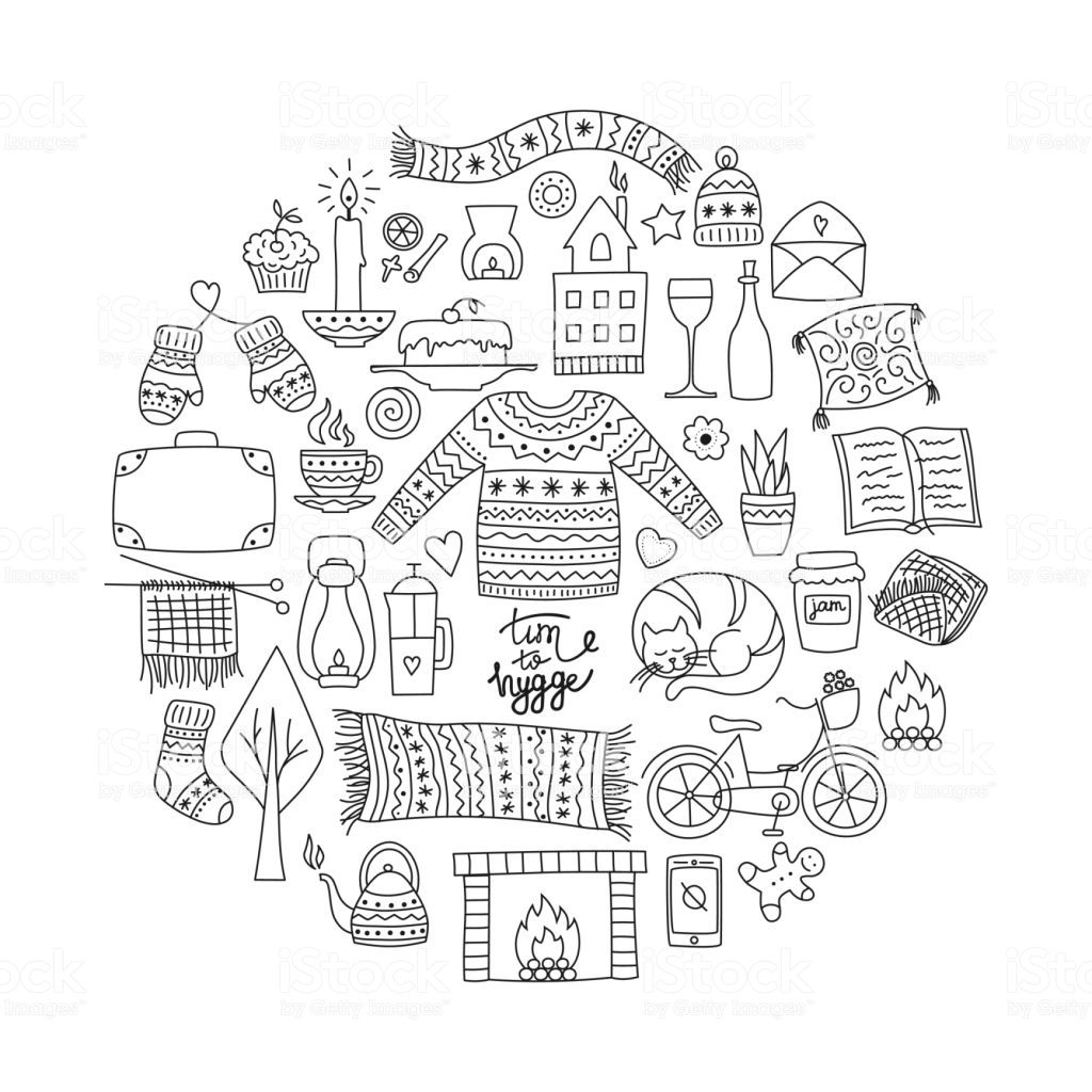 Time to Hygge. Hand drawn doodle icons set. Vector