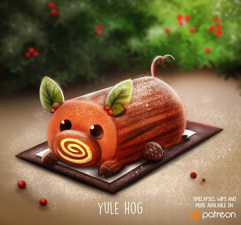 Daily+Paint+1478.+Yule+Hog+by+Cryptid-Creations.deviantart.com+on+@DeviantArt