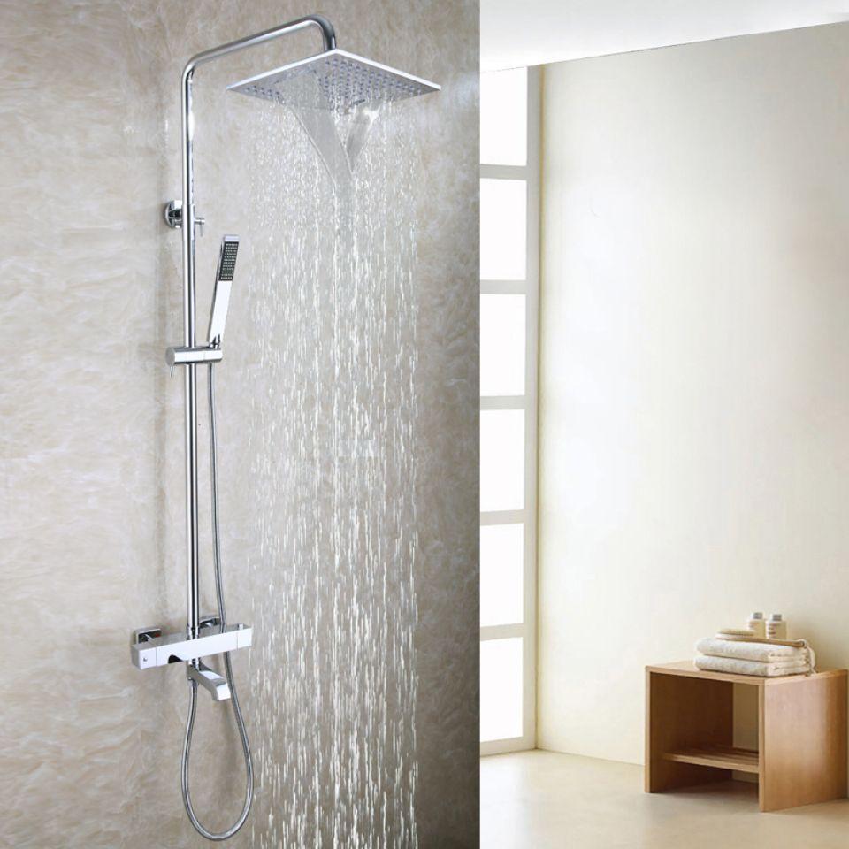 Contemporary Bathtub Shower Faucet Set 10 Inch Bathroom Waterfall Shower Head Hand Shower Inc Bath Shower Mixer Taps Outdoor Shower Fixtures Shower Faucet Sets
