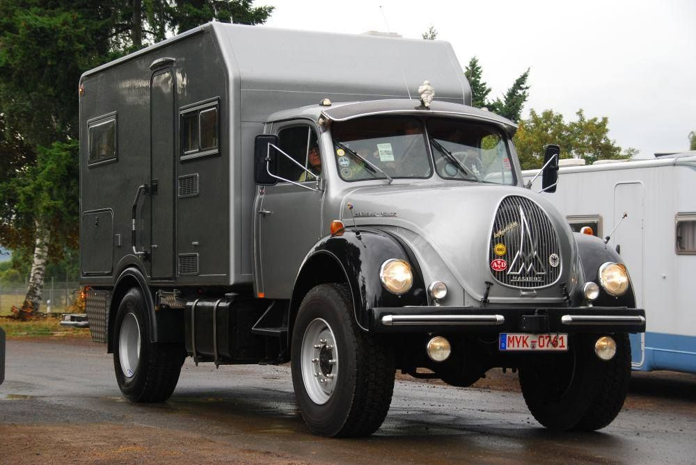 A late 50s early 60s Magirus Deutz truck with relatively new camper on the back - source: https://www.facebook.com/Fernreisemobiltreffen/photos_stream?tab=photos_albums for many more photos!