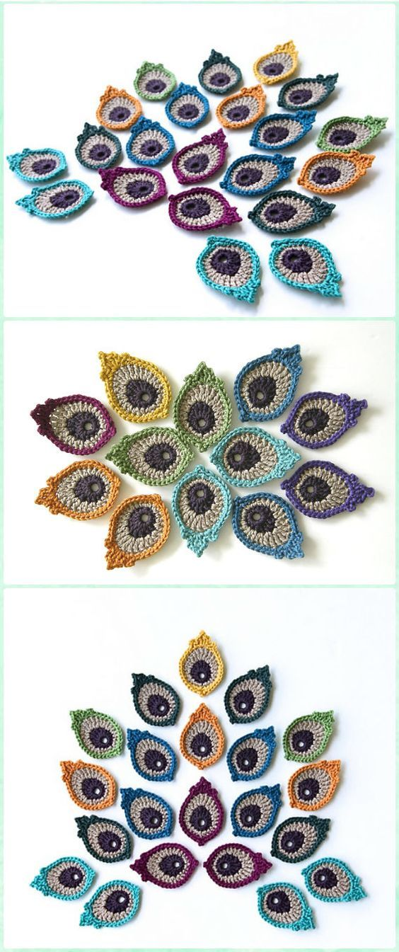 10 Crochet Peacock Feather Free Patterns | κοσμηματα | Pinterest ...