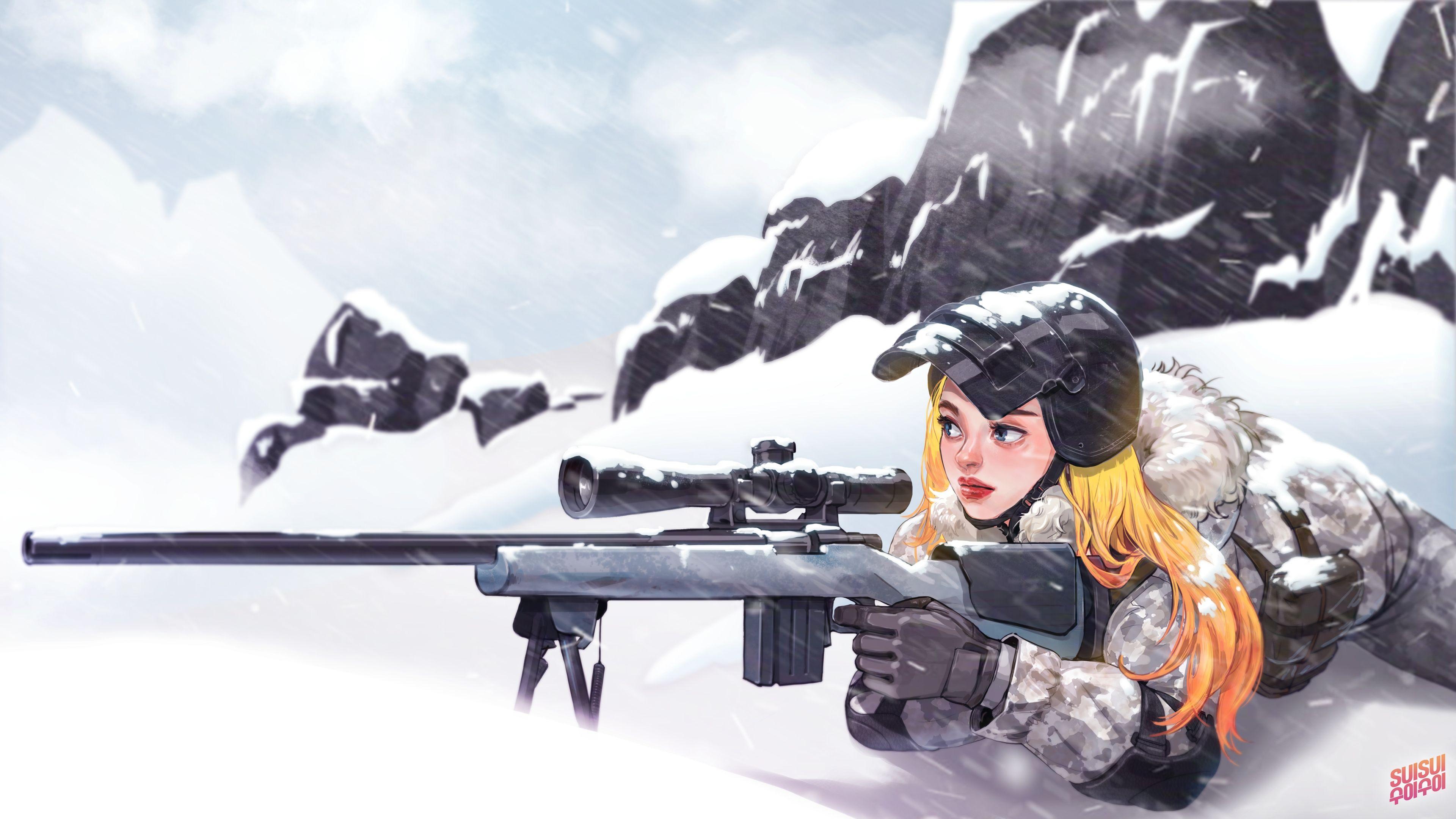PUBG PlayerUnknown's Battlegrounds Girl Sniper 4K