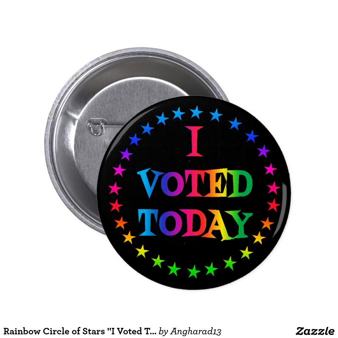 "Rainbow Circle of Stars ""I Voted Today"" LGBT 2.25"" Pinback Button--Find it here: http://www.zazzle.com/rainbow_circle_of_stars_i_voted_today_lgbt_2_25_pinback_button-145752918323291950"