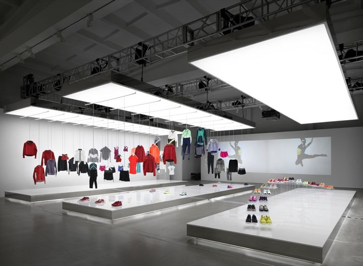 Nike pop-up showroom by Maggie Peng & Albert Tien, Beijing » Retail Design Blog  We designed an exhibition environment for the new Nike Women's Collection to express the atmosphere of weightlessness and the ethereal.
