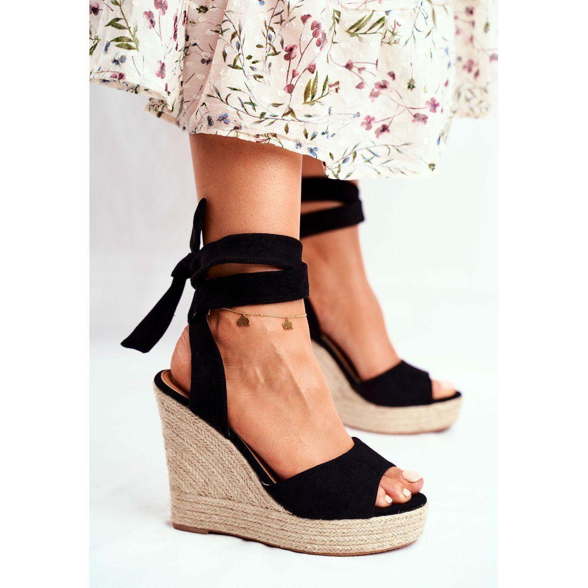 Sea Sandaly Damskie Na Koturnie Wiazane Czarne Belleza Wedge Sandals Wedges Wedge Espadrille