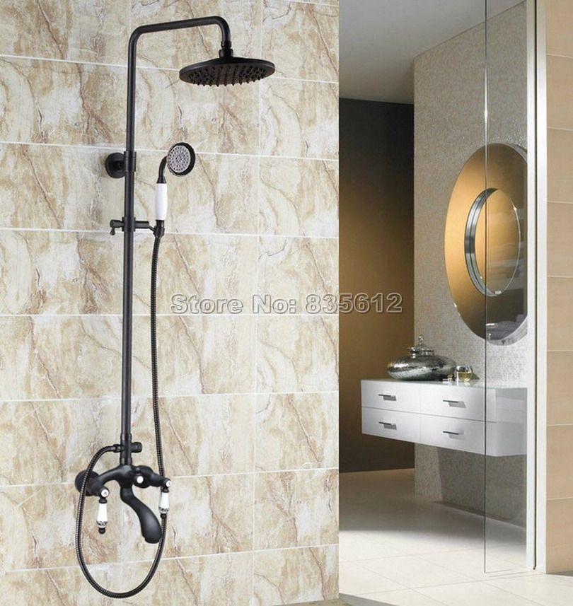 Rain Shower Faucet Set Black Oil Rubbed Bronze Wall Mounted Bathroom ...