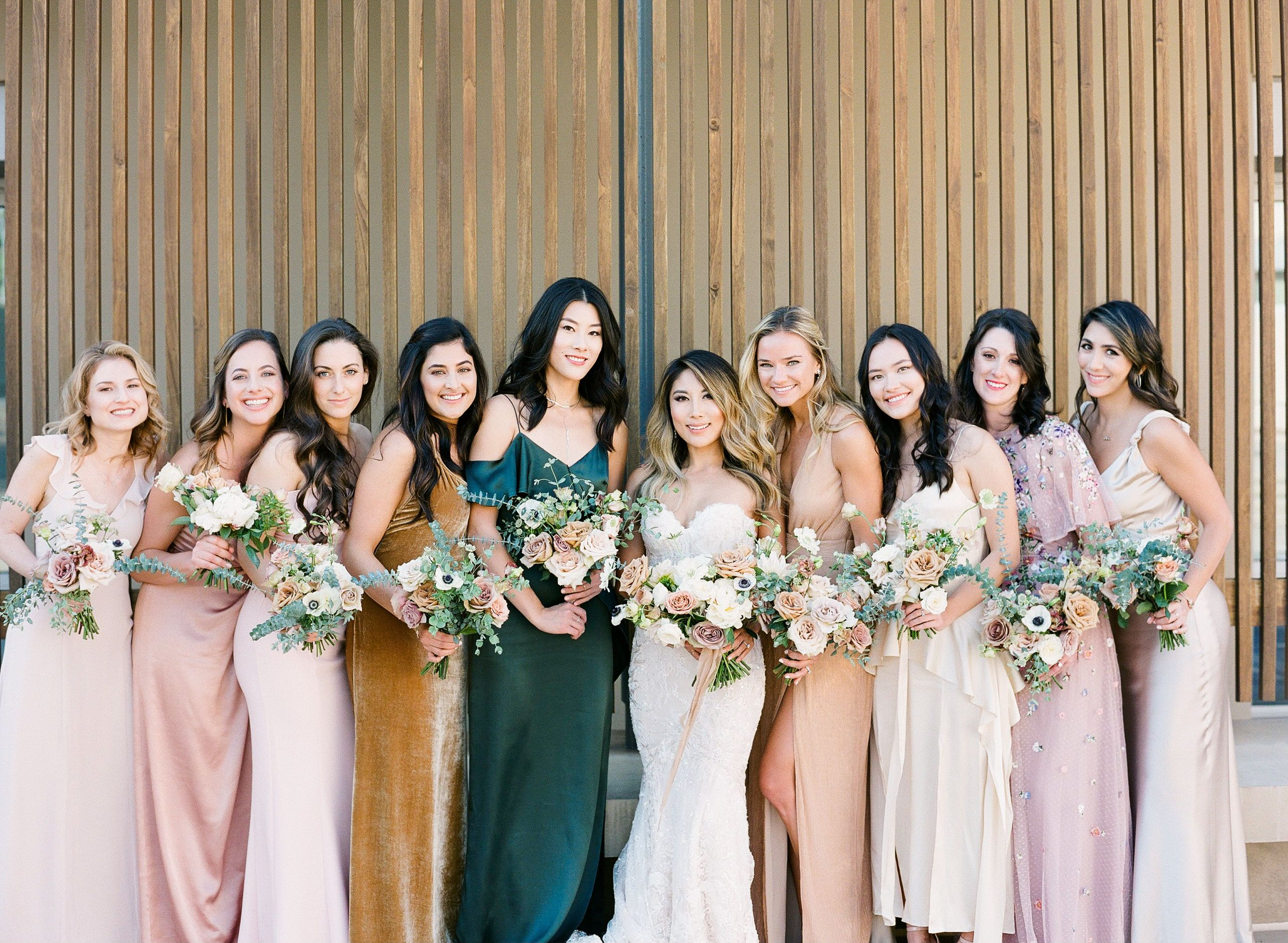 Obsessed With These Bridesmaids Dresses All Different Yet Blend So Well Together Unique Bridesmaids Gorgeous Wedding Dress Bridesmaid Colors Tan Bridesmaids