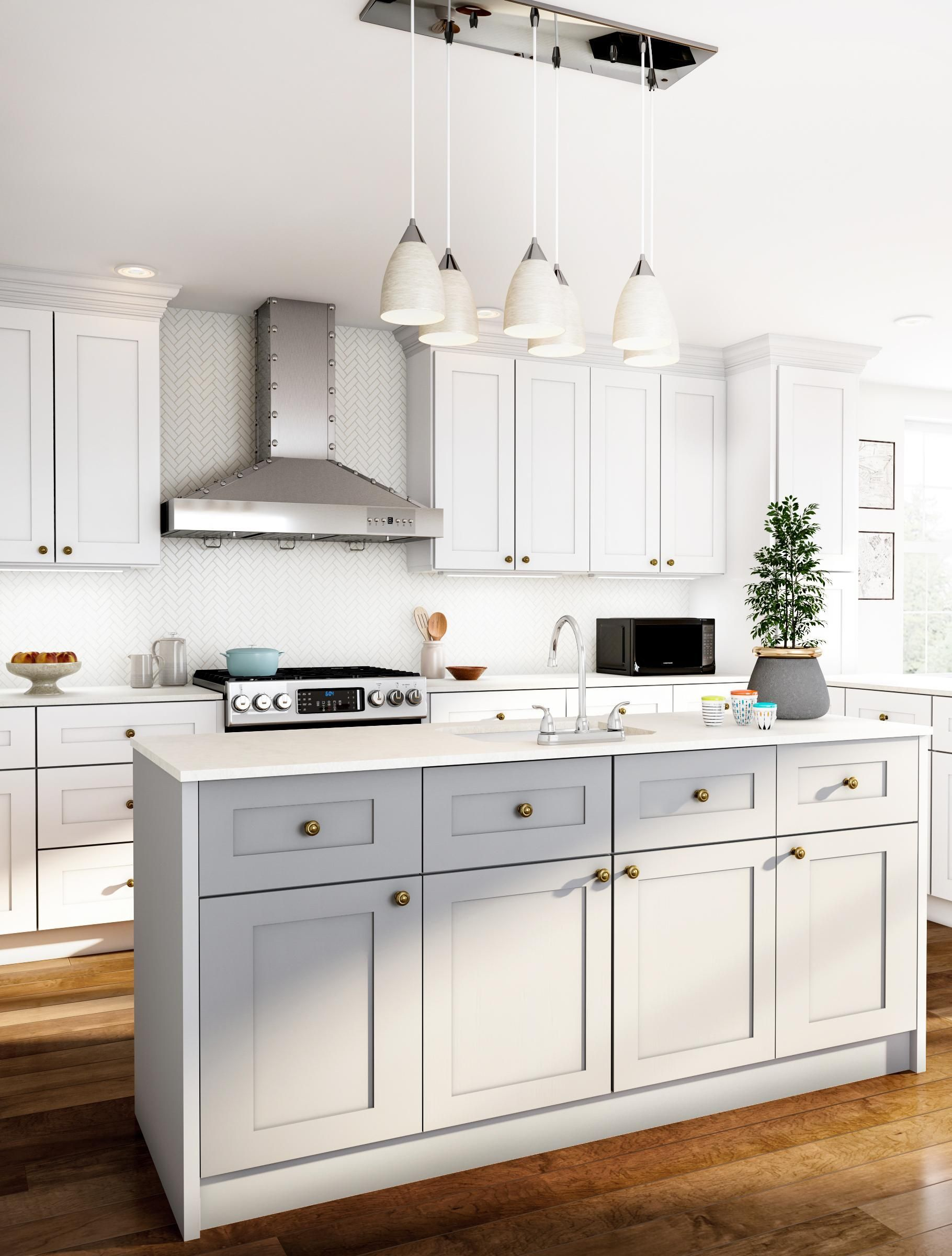 Kitchen Idea In London With Flat Panel Cabinets White Cabinets White Bac Kitchen Cabinet Remodel Interior Design Kitchen Interior Design Kitchen Contemporary