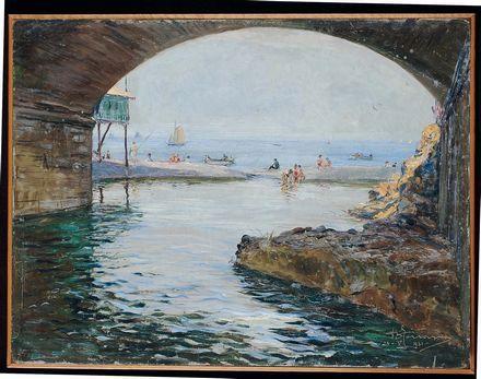 Berto Ferrari (1887-1965)  Spiaggia con archivolto, 1931  olio su cartoncino, cm 30x40, firmato e datato in basso a destra