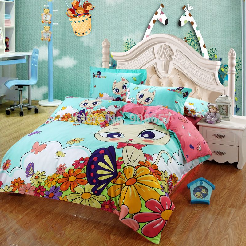pas cher 2015 lumi re turquoise rose fonc chat imprim ensemble de literie de coton complet. Black Bedroom Furniture Sets. Home Design Ideas