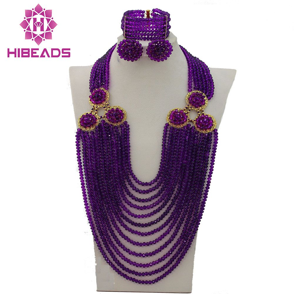 Purple African Costume Beads Jewelry Sets Nigerian Wedding Crystal ...