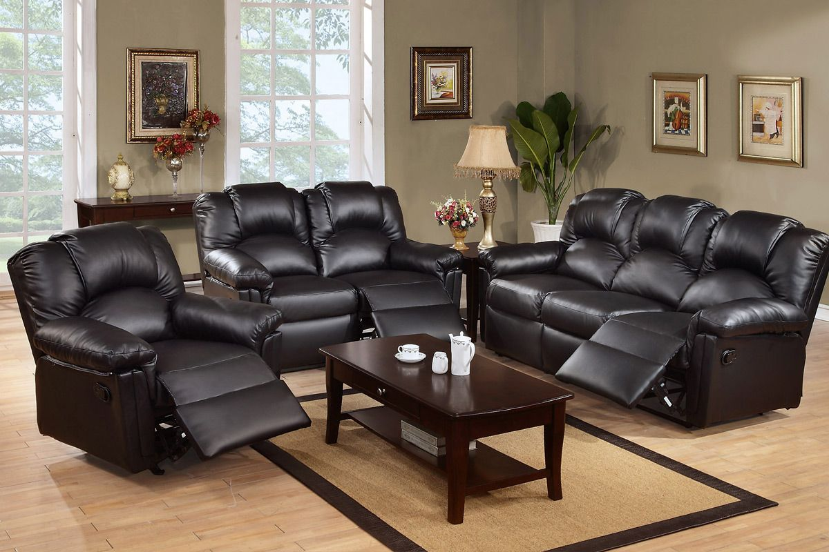 Stanton 3 piece living room set brown - New Modern Casana 3 2 Seater Bonded Leather Recliner Sofa Suite Black