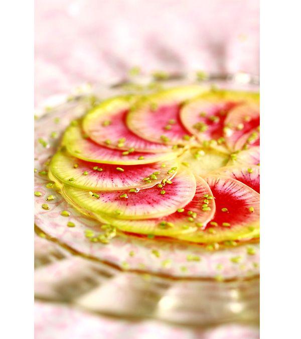 Carpaccio de radis red meat radish redmeat veggie food cooking pinterest salade de - Radis rose de chine ...