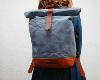 waxed Canvas rucksack/backpack yellow color by NATURALHERITAGEBAGS