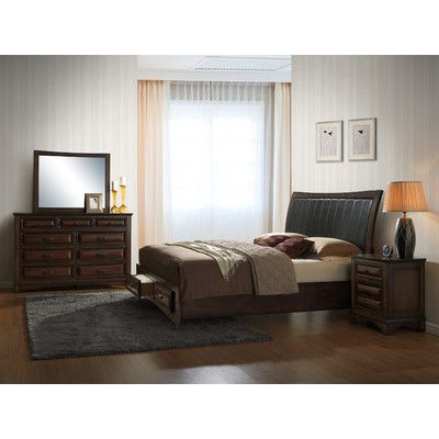Roundhill Furniture Broval Platform 4 Piece Bedroom Set