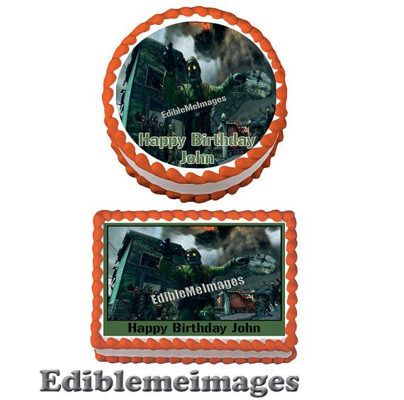 CALL of DUTY ZOMBIES Birthday Party Cake Topper Decoration Edible