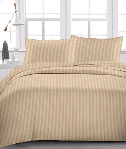Taupe Stripe 300 Thread Count Egyptian Cotton 10 Inch Deep Pocket