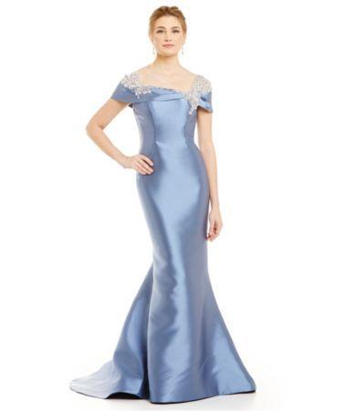 Lasting Moments Portrait Collar Beaded Mermaid Gown #Dillards