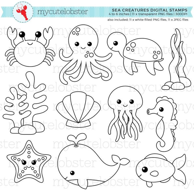 Sea Creatures Digital Stamps Outlines Line Art Crab Etsy Digital Stamps Sea Creatures Candyland Birthday