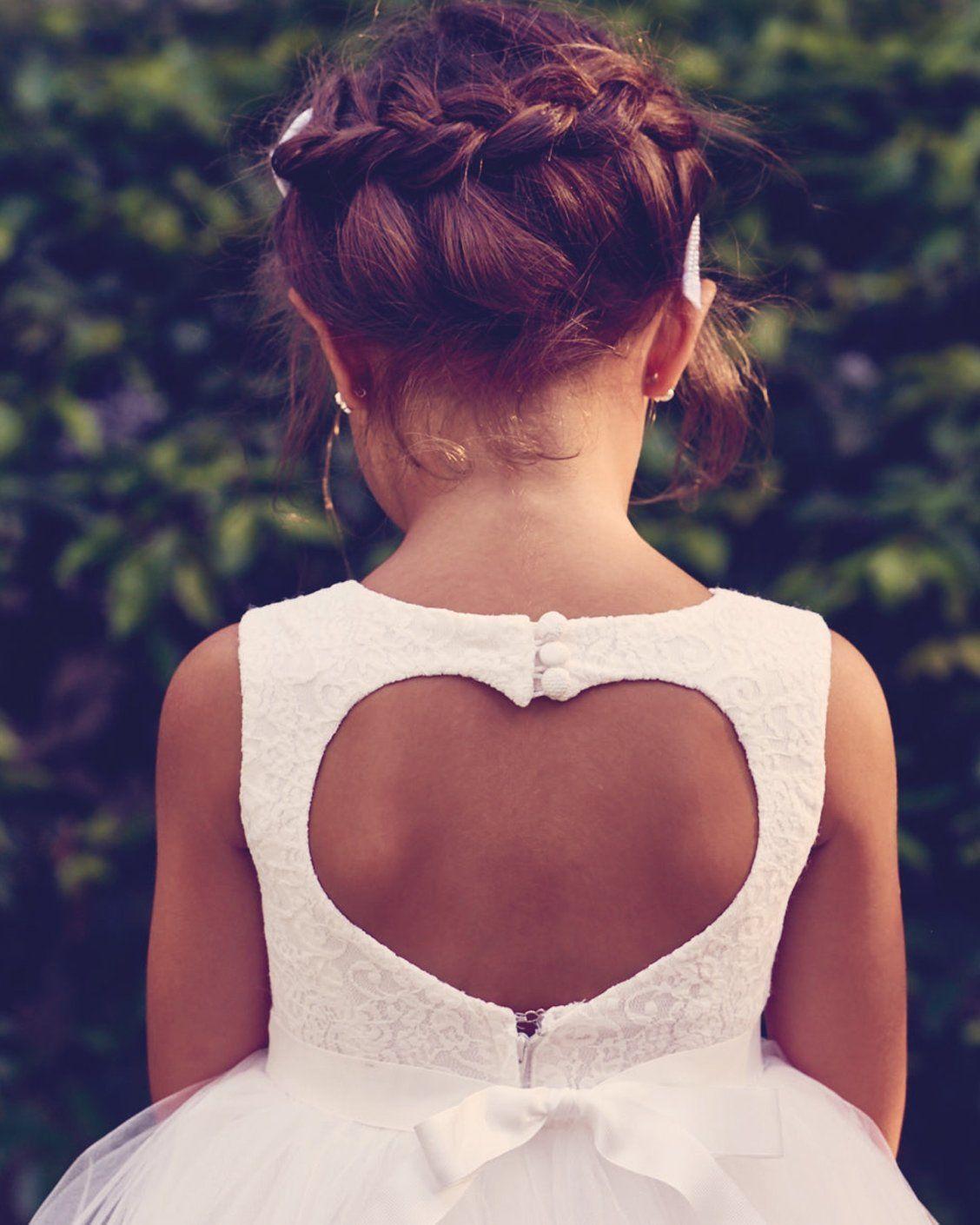 c9e2429dd49 We love our heart back flower girl dress! Shop more flower girl dresses at  David s Bridal
