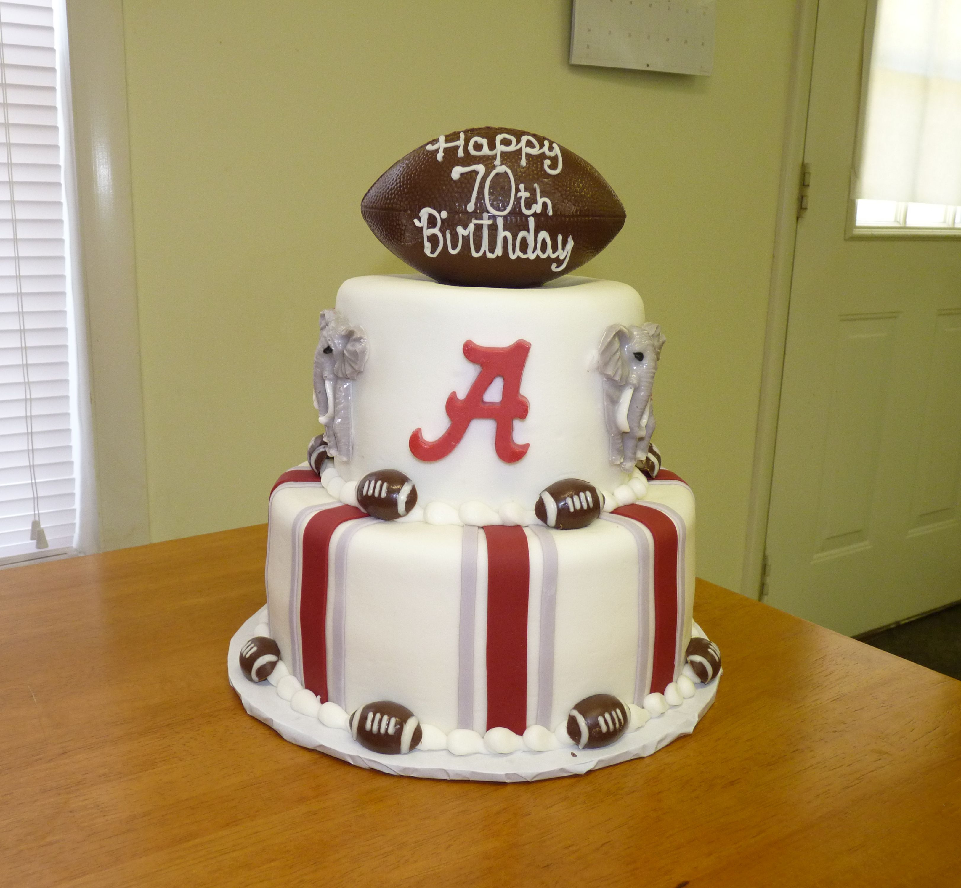 Alabama Crimson Tide Birthday Cake Vanilla cake iced in