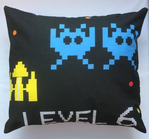 Retro Computer Game Fabric Cushion Covers  handmade by Alien Couture  Retro Computer Game Fabric Cushion Covers  handmade by Alien Couture