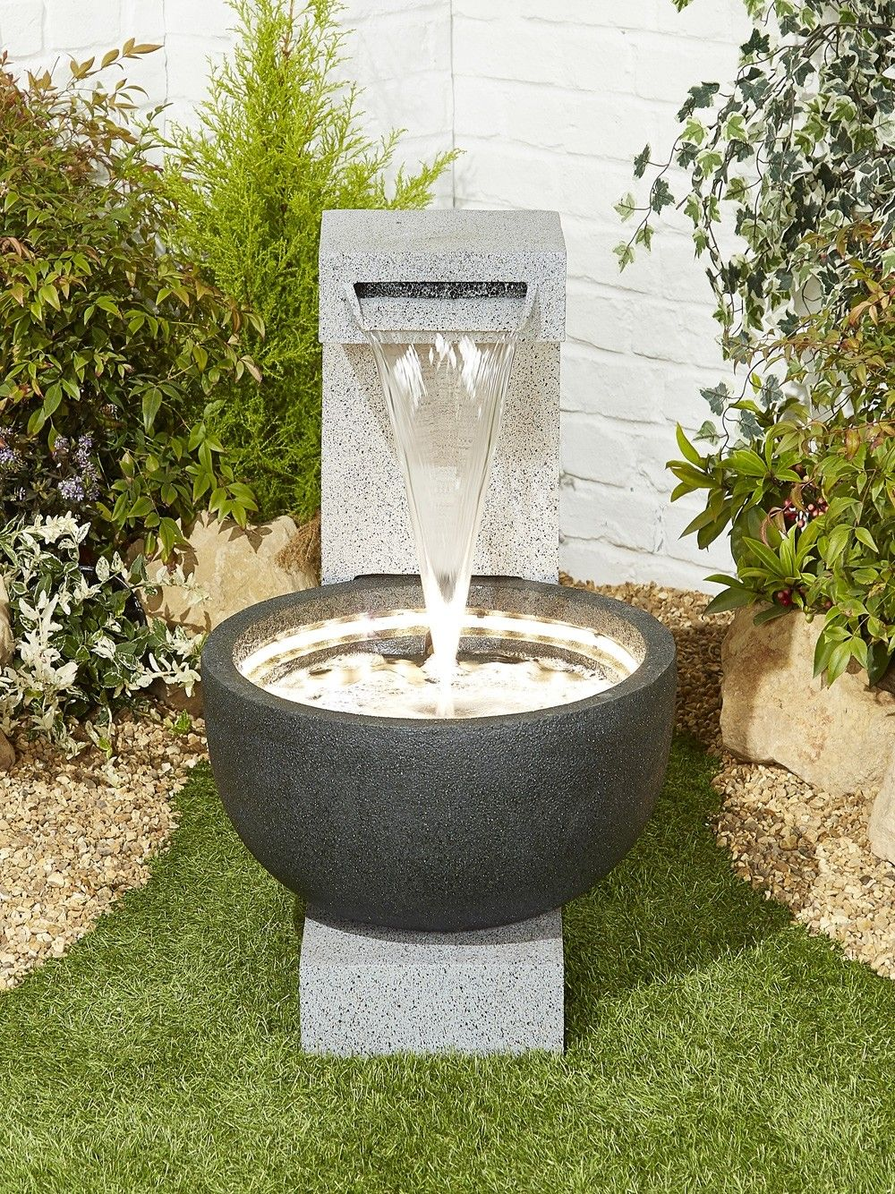Solitary Pour Water Feature Modern Fountain Water Fountains Outdoor Water Features In The Garden Modern outdoor water fountain