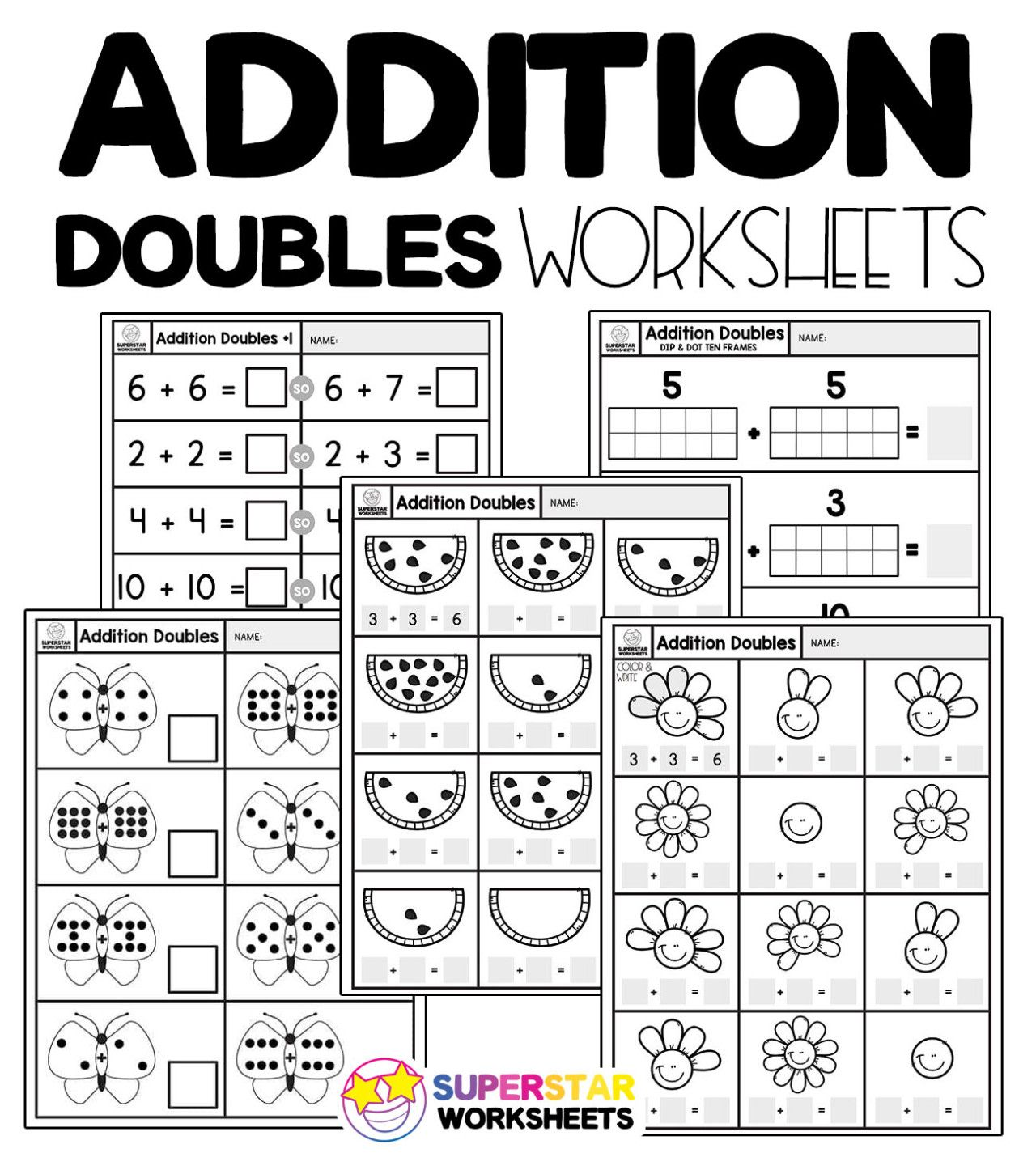 Addition Doubles Fact Worksheets Free Addition Doubles