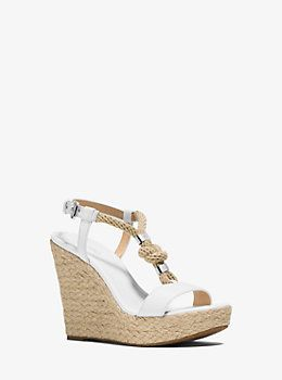 f8113931457d Holly Rope-Trim Leather Wedge by Michael Kors
