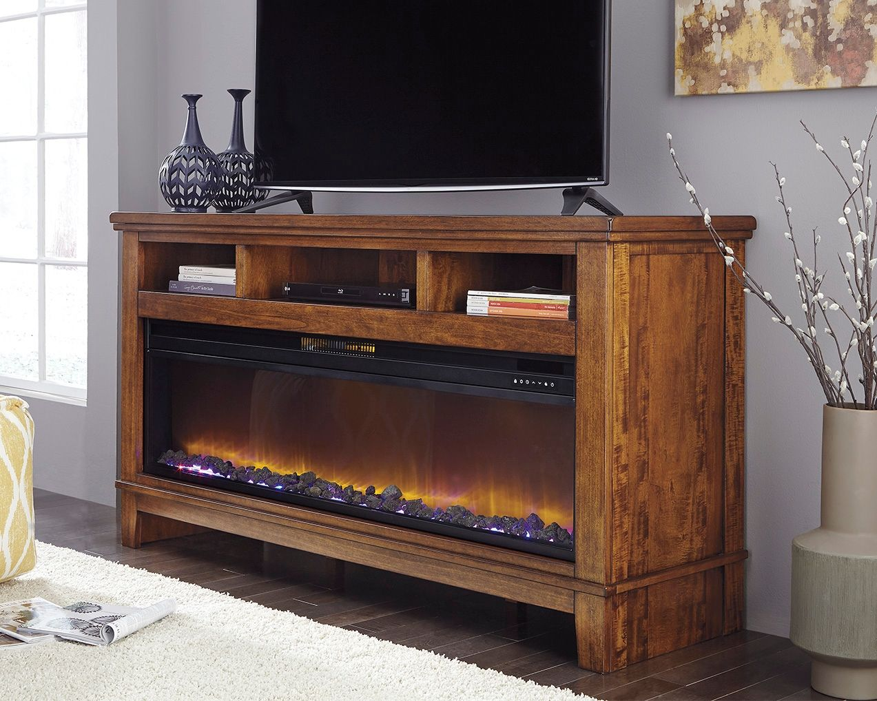 Ralene 65 Tv Stand With Electric Fireplace Medium Brown