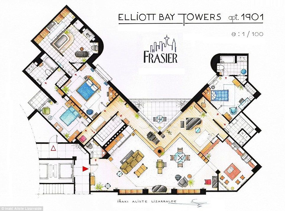 mail floorplan. Artists Sketch Floorplan Of Friends Apartments And Other Famous TV Shows | Mail Online D
