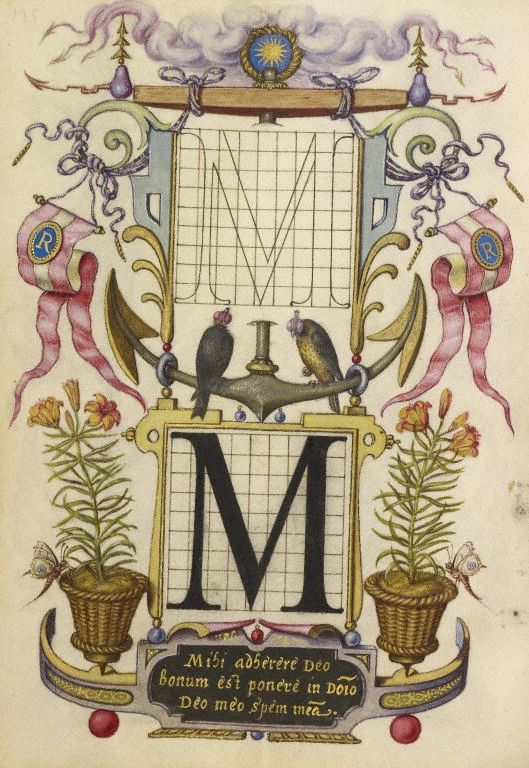 Joris Hoefnagel (illuminator) [Flemish / Hungarian, 1542 - 1600], Guide for Constructing the Letter M, Flemish and Hungarian, about 1591 - 1596, Watercolors, gold and silver paint, and ink on parchment