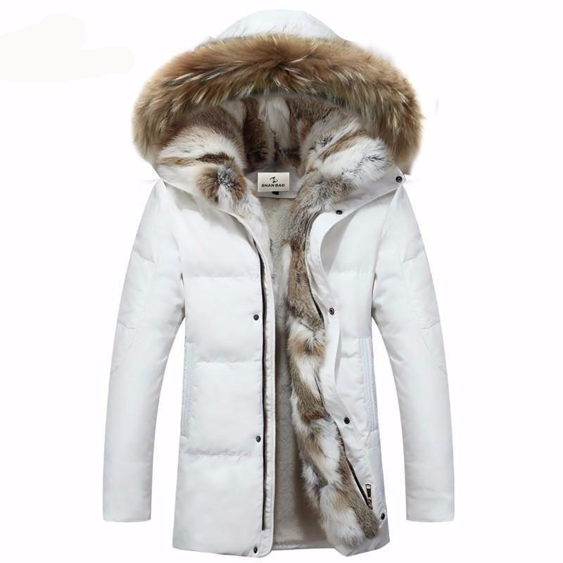 Elegant Thick Warm Fur Hooded Coat Winter Jacket Men Warm