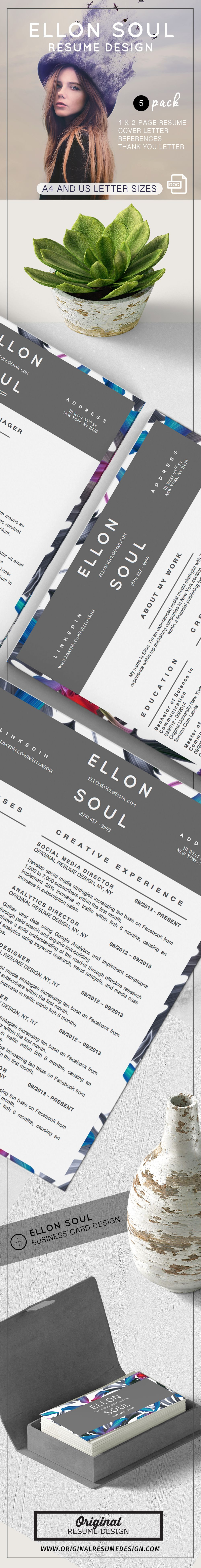 Beautiful And Modern Resume Design Ellon Soul Features