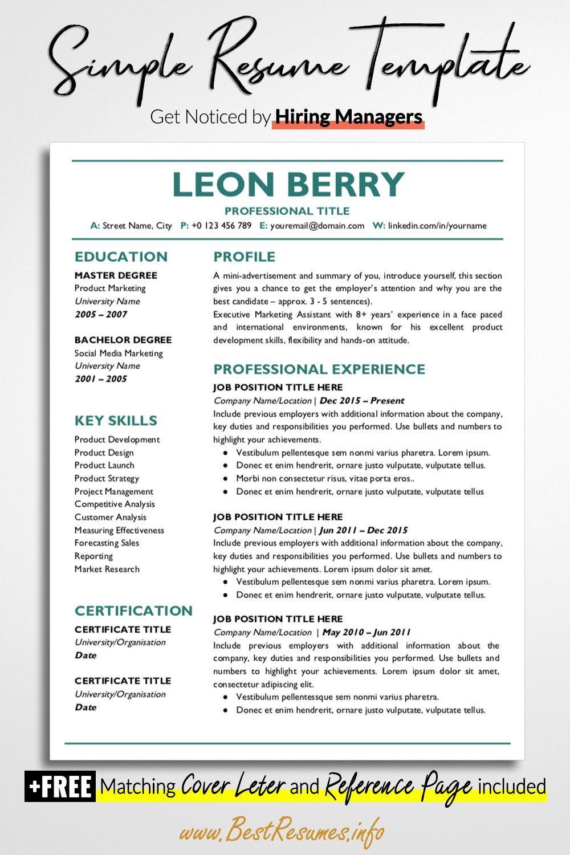 Professional Resume Template Leon Berry BestResumes.info