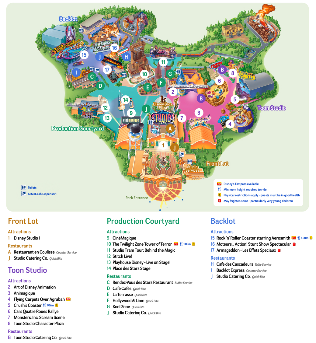 Map of Walt Disney Studios park of Paris http://parismap360.